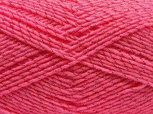Gauge is 22 stitches and 30 rows on 10 cm x 10 cm (4& x 4&). Fiber Content 97% Acrylic, 3% Metallic Lurex, Pink, Brand Ice Yarns, fnt2-67615